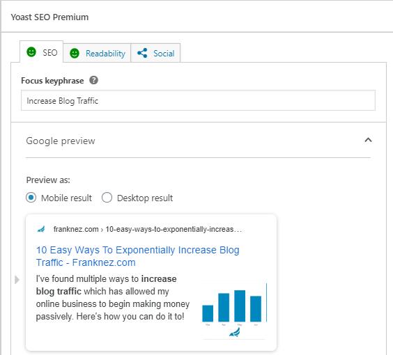 Increase blog traffic by optimizing SEO analysis results
