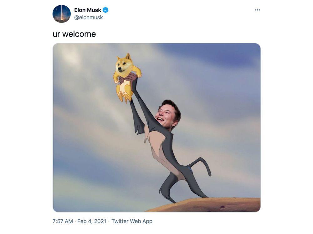 Elon Musk on Twitter about Dogecoin