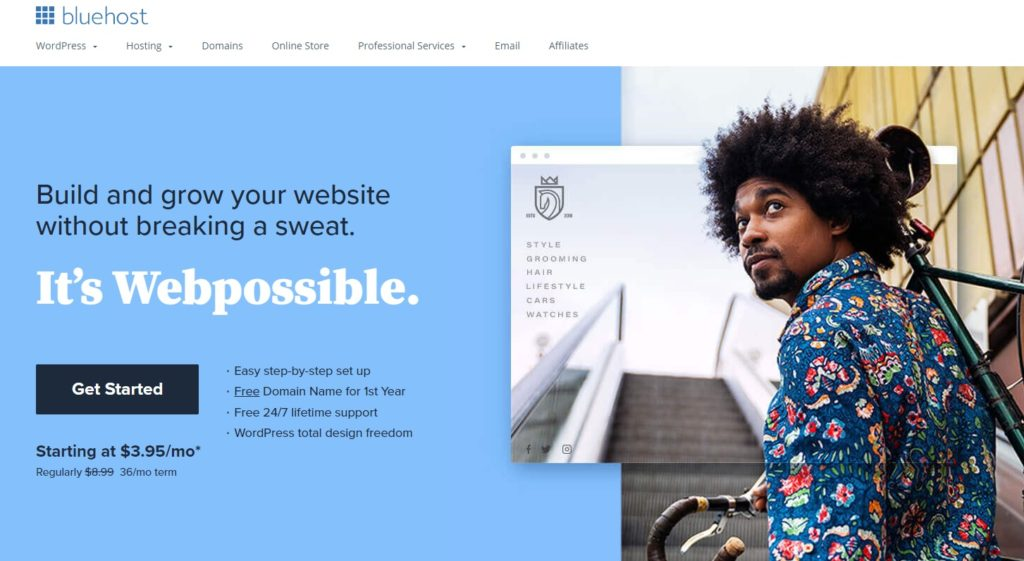 Use bluehost to build a website for your 5-figure business