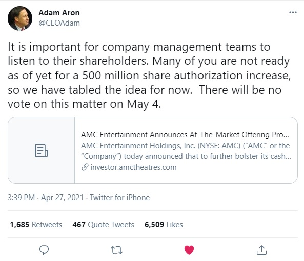 Adam Aron AMC Entertainment CEO Twitter