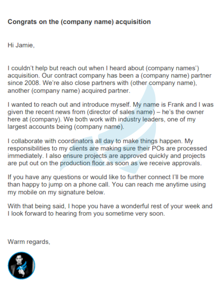 example of a successful cold email template - franknez.com