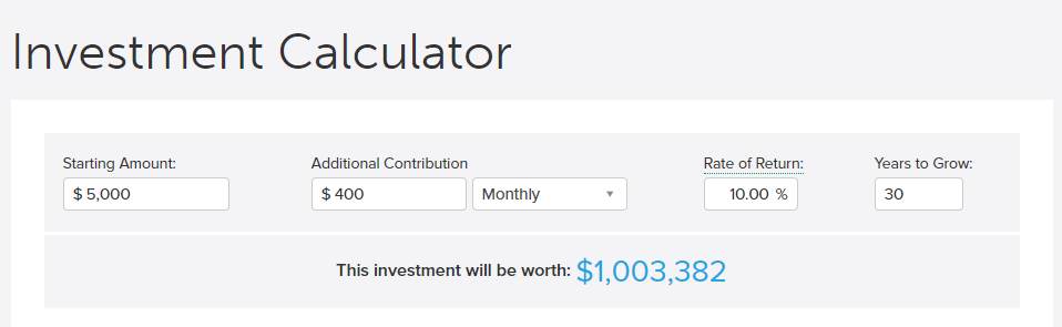 Investment calculator $1 million dollars