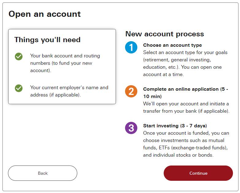 Open a vanguard account