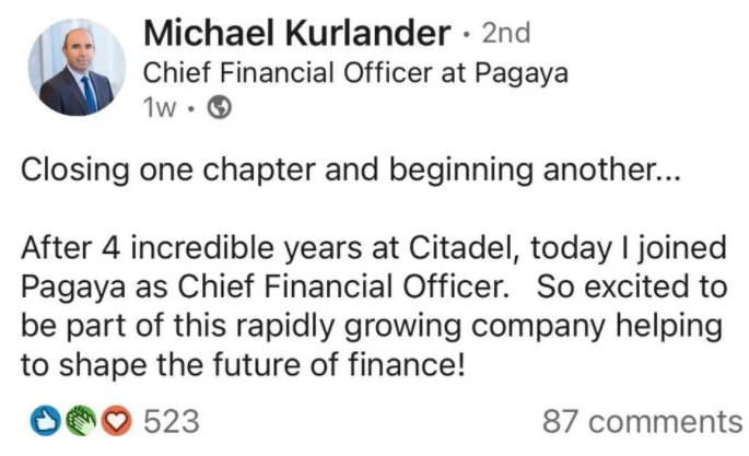 Michael Kurlander leaves Citadel LinkedIn
