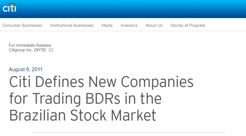 CitiBank BDRs