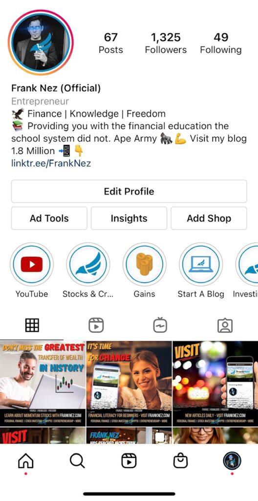 franknez instagram branding