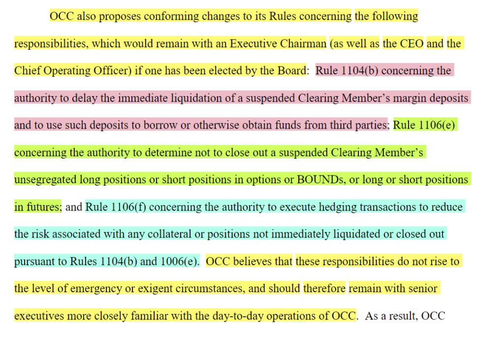 OCC request to delay liquidation